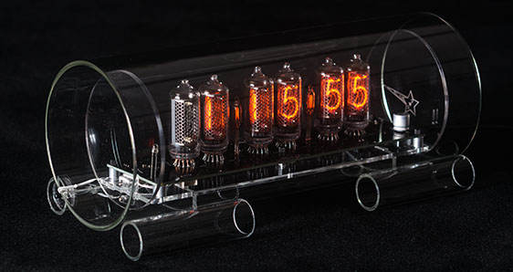 Cold War Creations Large Glass Nixie Clock #3 IN-8-2
